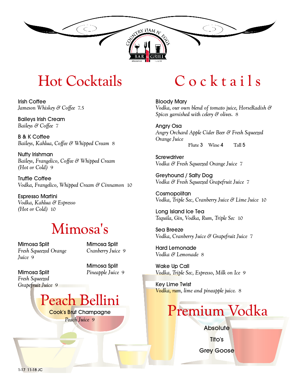 Hot Cocktails, Cocktails, Mimosas, Peach Bellini, And Premium Vodka