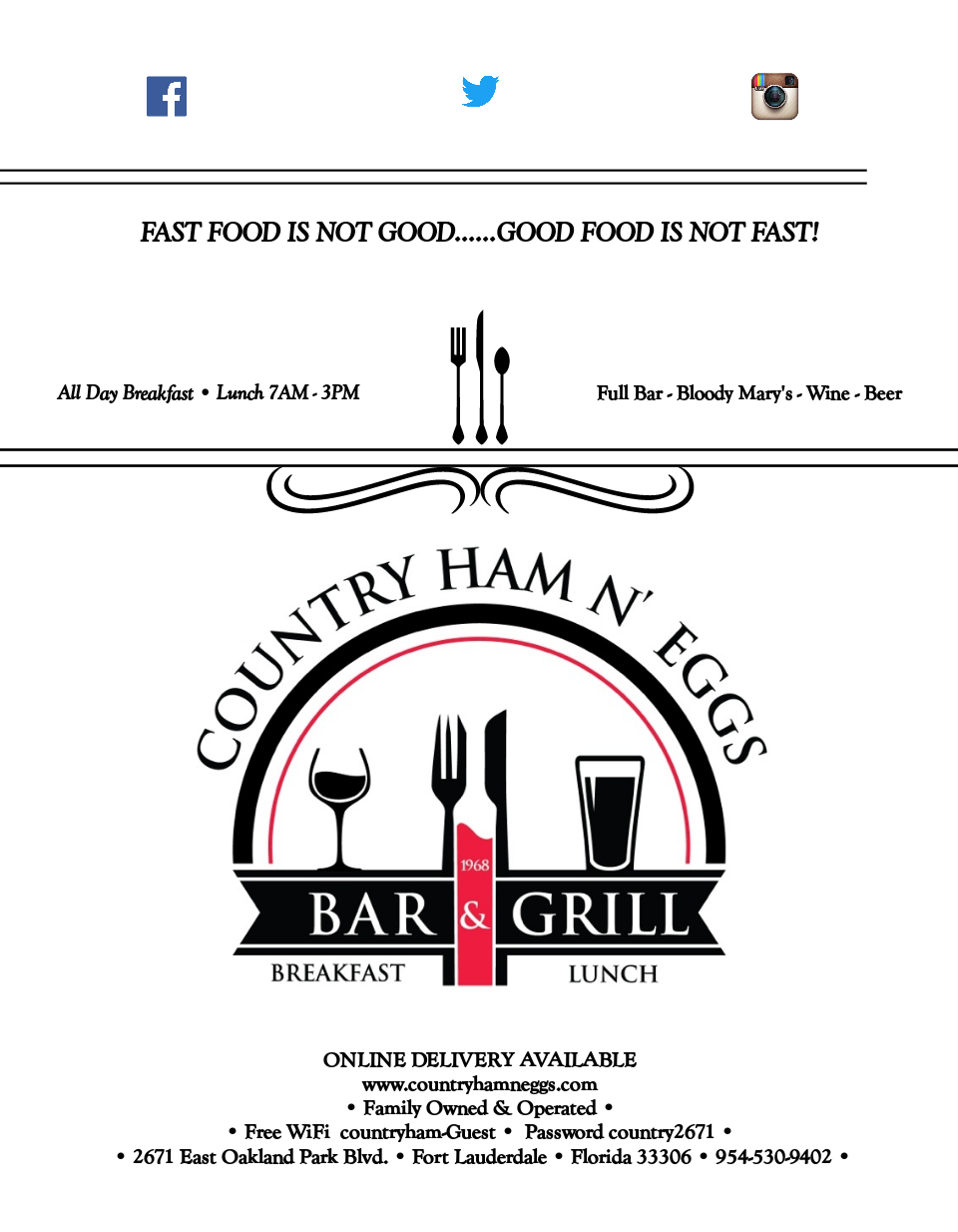Country Ham N' Eggs Menu